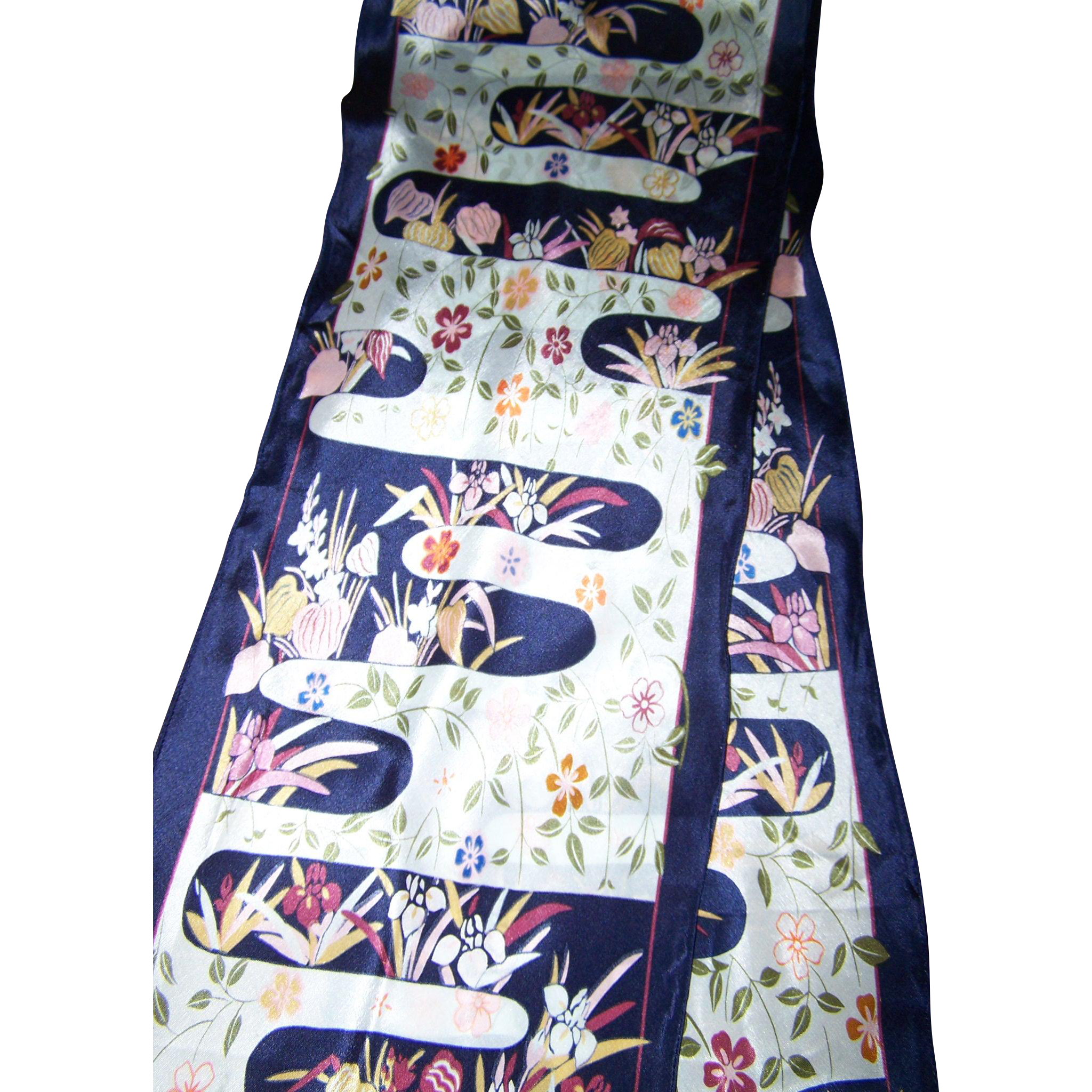 Long Wing Tip Style Silk Fashion Scarf Nature Floral Print The Museum of Fine Arts Boston