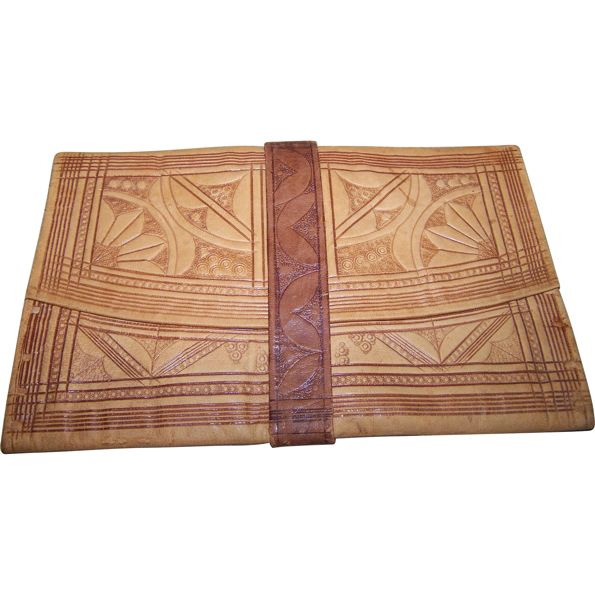 Vintage Decorative Moroccan Tooled  Soft Leather  Wallet  Billfold