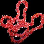 Pretty Bright Orange Faux Coral Chip Long Ladies Faashion Necklace