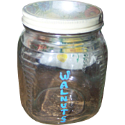 Old Fashioned Depression Era  Glass Canister Jar Stating WALNUTS with Lid