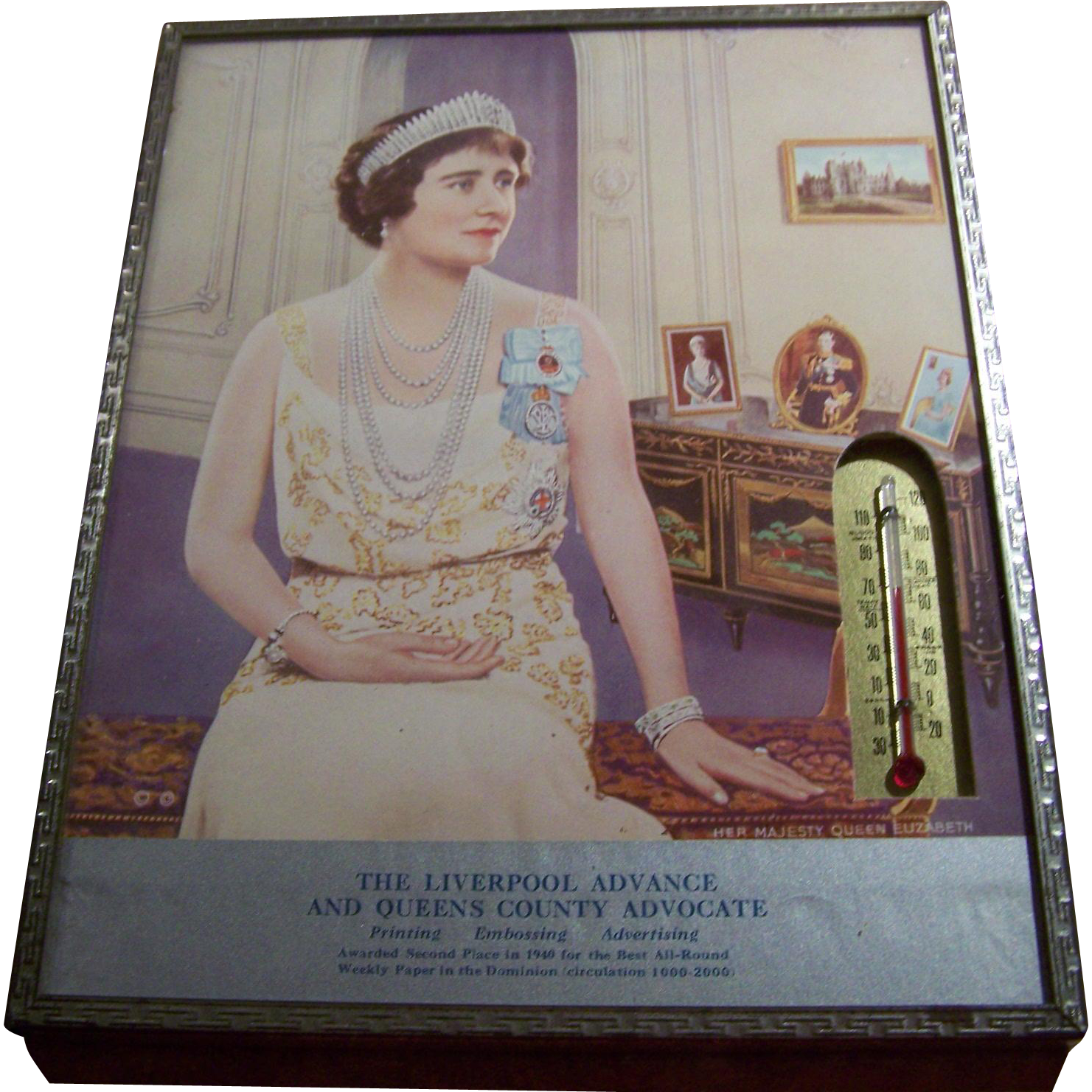 Historical Advertising Framed Queen Elizabeth Print Thermometer Liverpool Advance & Queens County Advocate