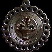 Sweet  Vintage Retro Era Happy Birthday Charm for your Bracelet Sterling Silver