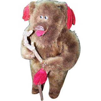 Folk ART Wood Framed Standing Plush  Teddy Bear