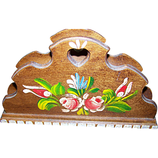 Sweet Hand Painted Wooden Wood Letter Holder Floral Theme