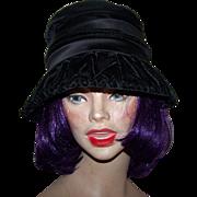 Gently Used Stylish Dramatic Ladies Black Velvet Hat