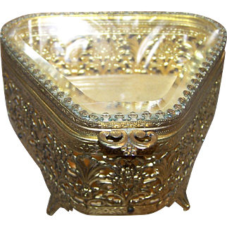 Decorative  Open Work Metal Ware Jewelry Casket with Beveled Glass Top C. 1950's