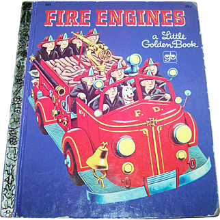 """Charming  Hard Cover Children's Book """" Fire Engines """"  Golden Press New York"""