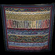Lovely Large Designer Signed Saldarini Print Silk Scarf