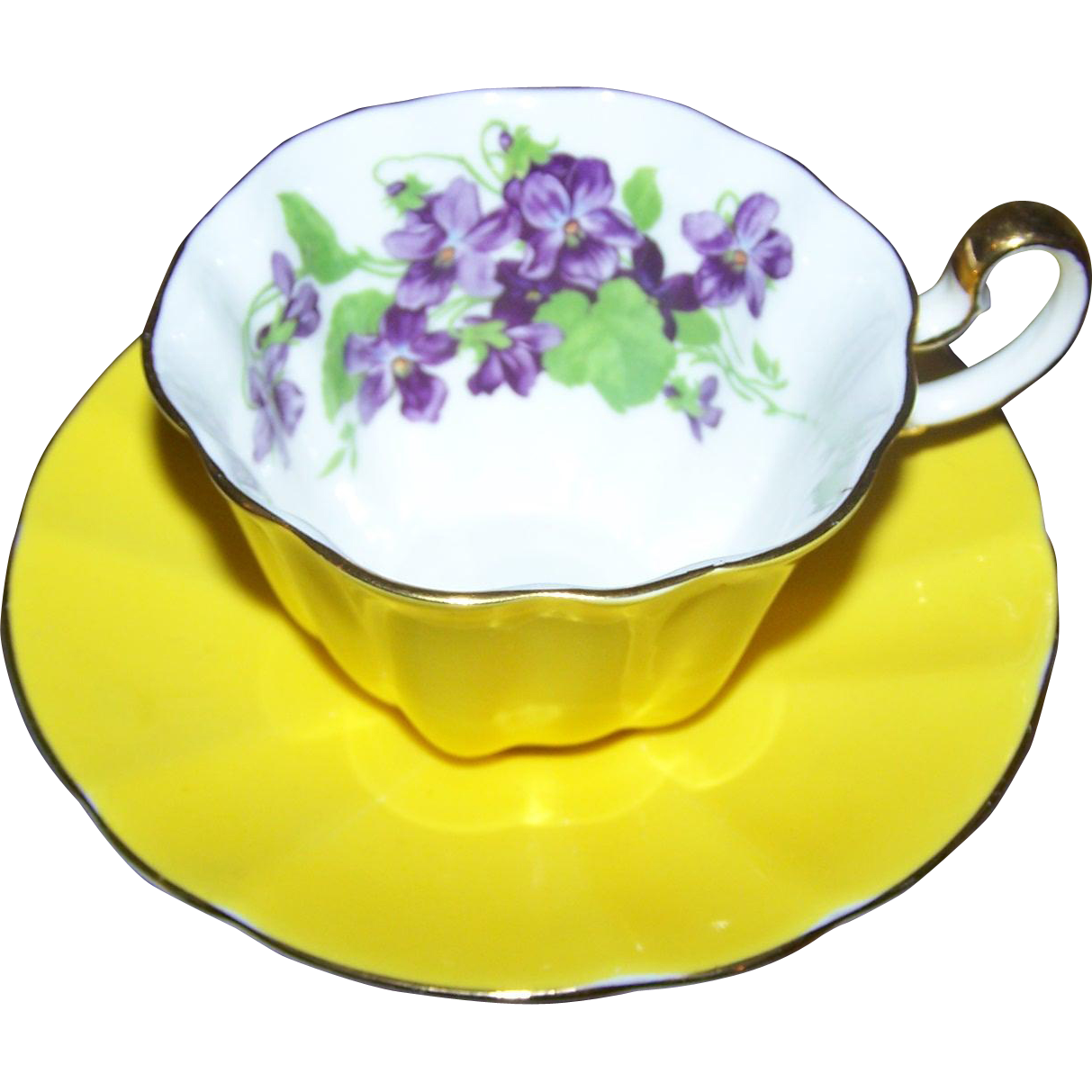 Cheerful Bright and Sunny Yellow Violet FLower Tea Cup Saucer Set Adderley England