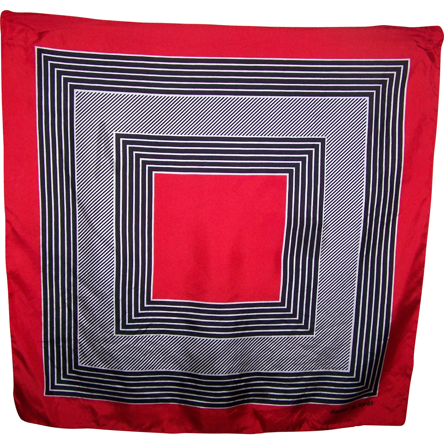 Geometric Op Art Illusion Fashion Print Scarf Designer daniel la foret Red White Black