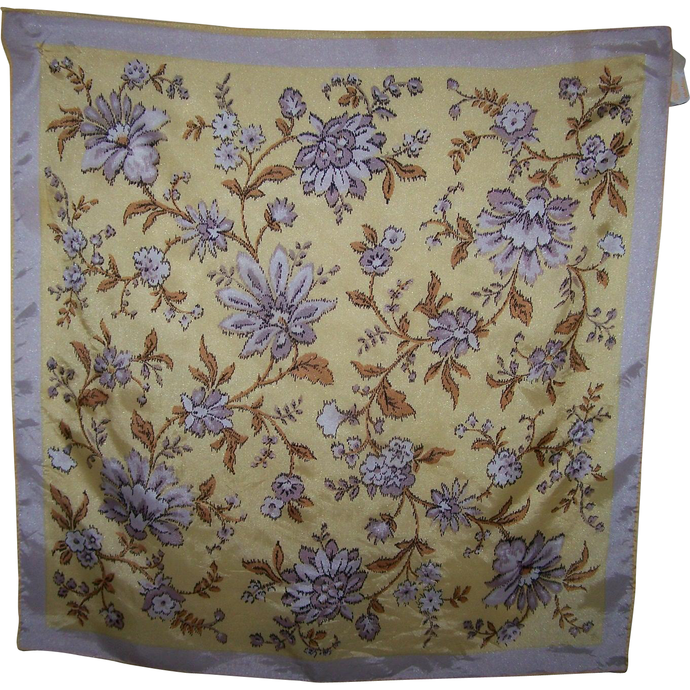 Pretty Vintage Sunny Yellow Glentex Flower Pattern Ladies Fashion Scarf