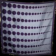 Designer Signed Vera Geometric op= Art Polka Dot Lady Bug Logo Scarf