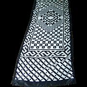 Black & White Silky Geometric Print Scarf Long Rectangular