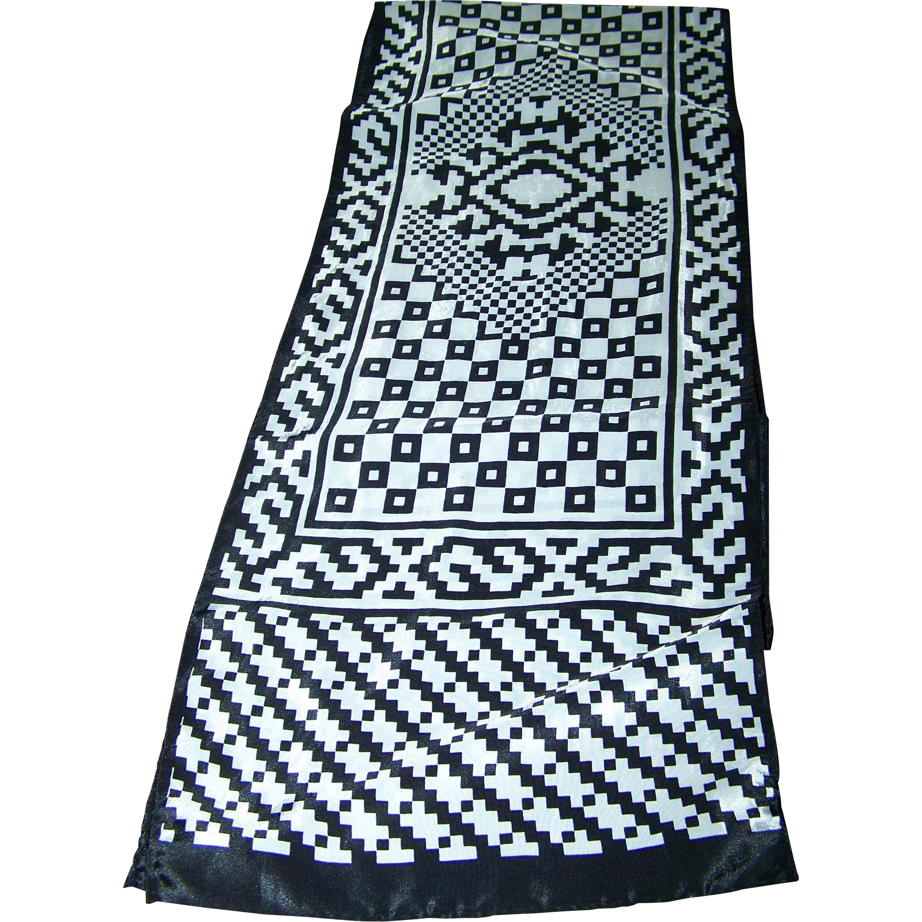 Black & White Silky Geometric Print Scarf Long Rectangular