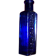 Small 2 Oz Cobalt Blue Glass Poison Bottle Embossed Not To Be Taken