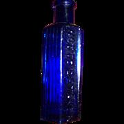 Small 2 Oz Cobalt Blue Glass Poison Bottle Embossed Not To Be Taken