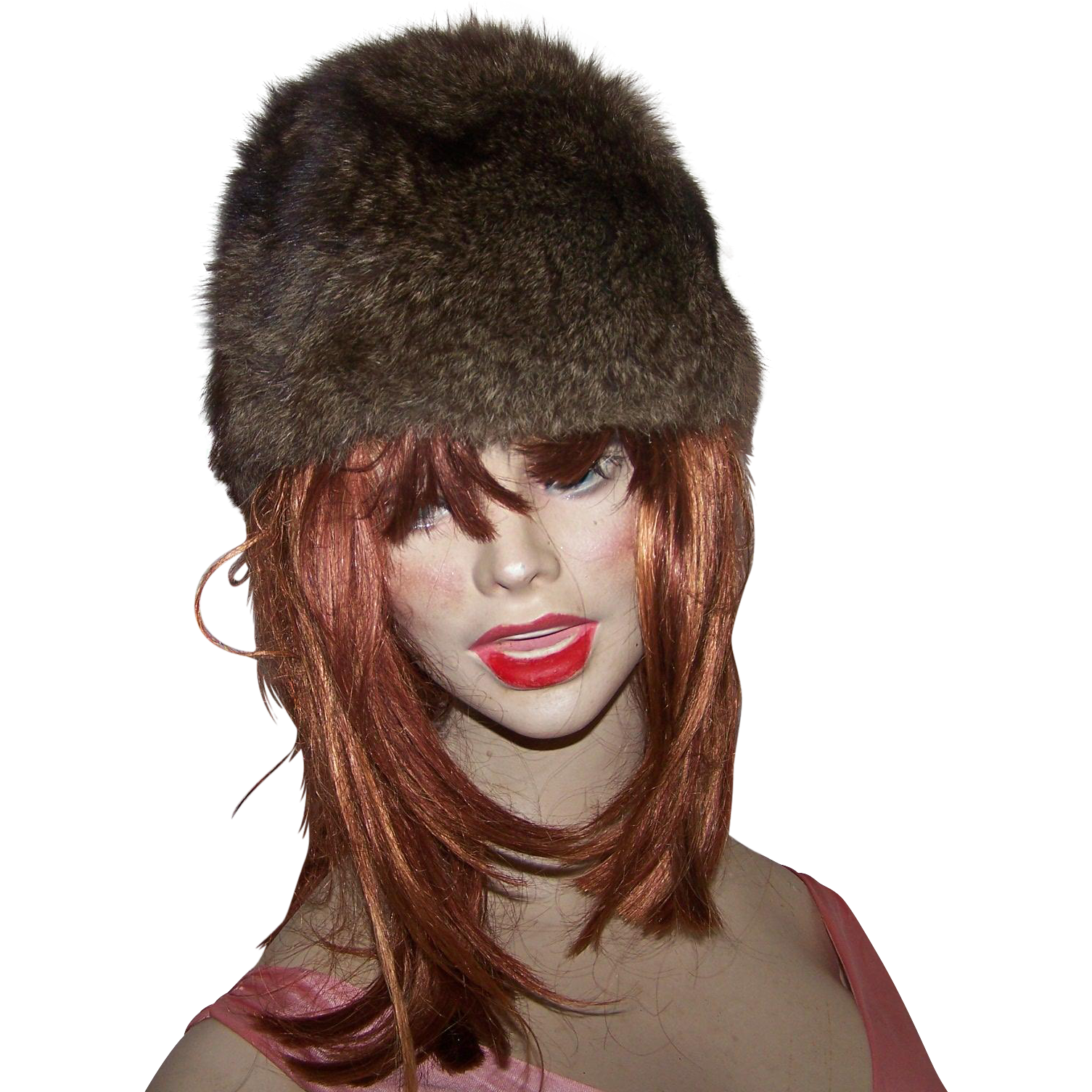 Pretty Vintage Muskrat Fur Ladies Fashion Hat