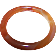 Pretty Vintage Carnelian Agate Color Glass Bangle Bracelet
