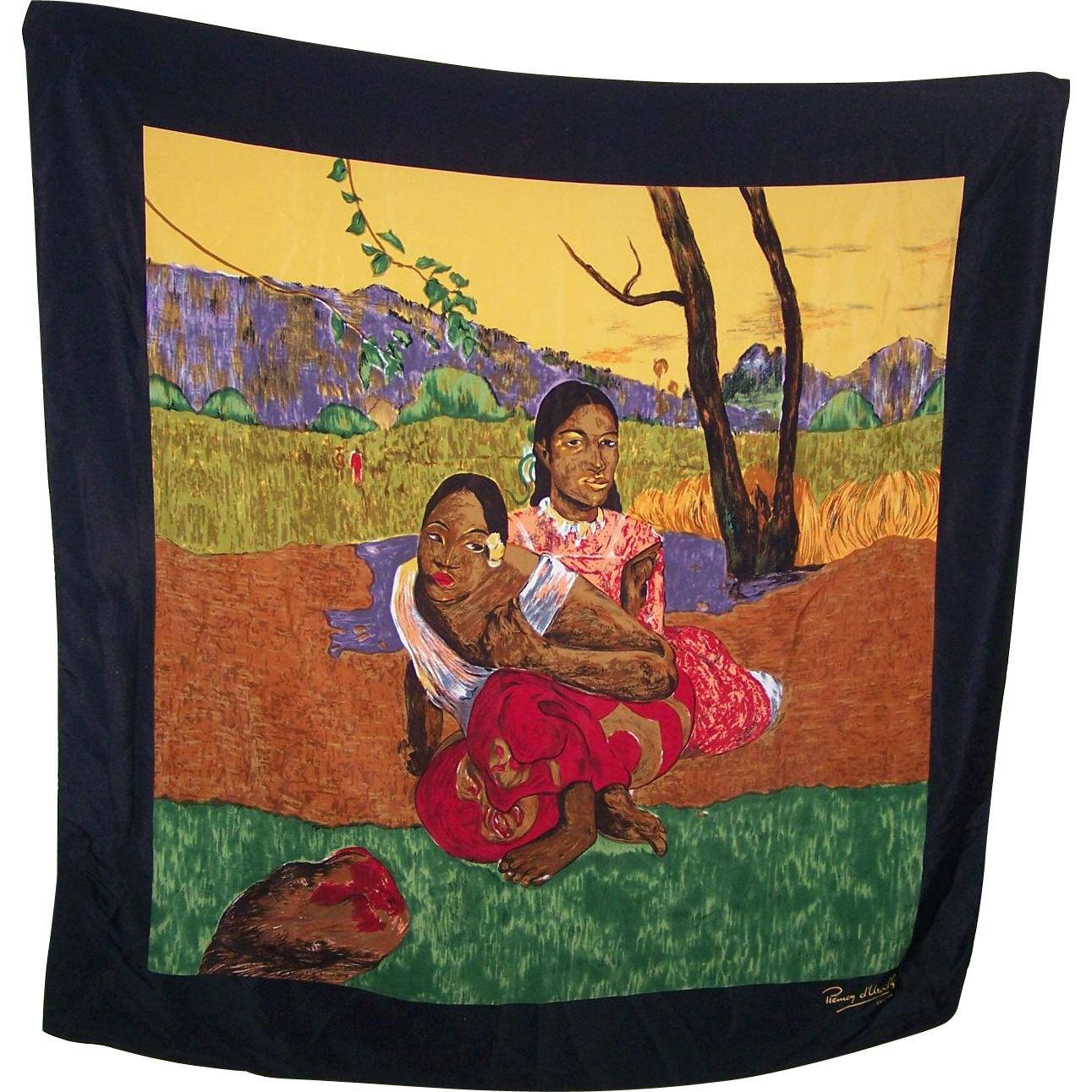 Paul Gauguin's 1892 painting Nafea Faa Ipoipo When will you marry on a Silk Scarf Signed Remoy d'Urville Creation
