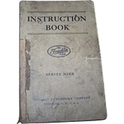 As IS 1925 Franklin Automotive Series Nine Instruction Book Owners Manual Soft Cover