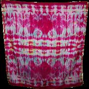 A Bright Colorful Cheerful Tie Dye Style Ladies Fashion Silk Scarf