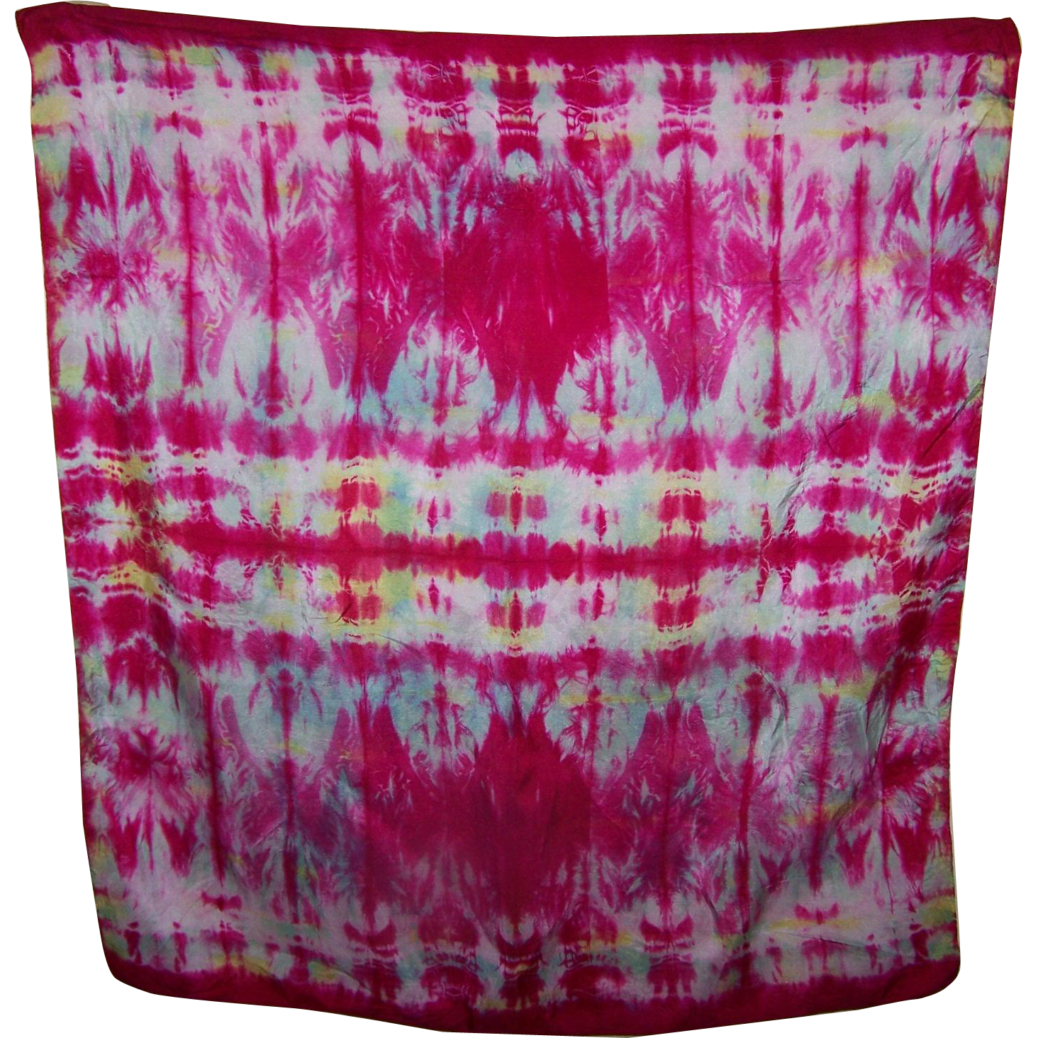 A Bright Colorful Cheerful Tie Dye Style Ladies Fashion Silk Scarf