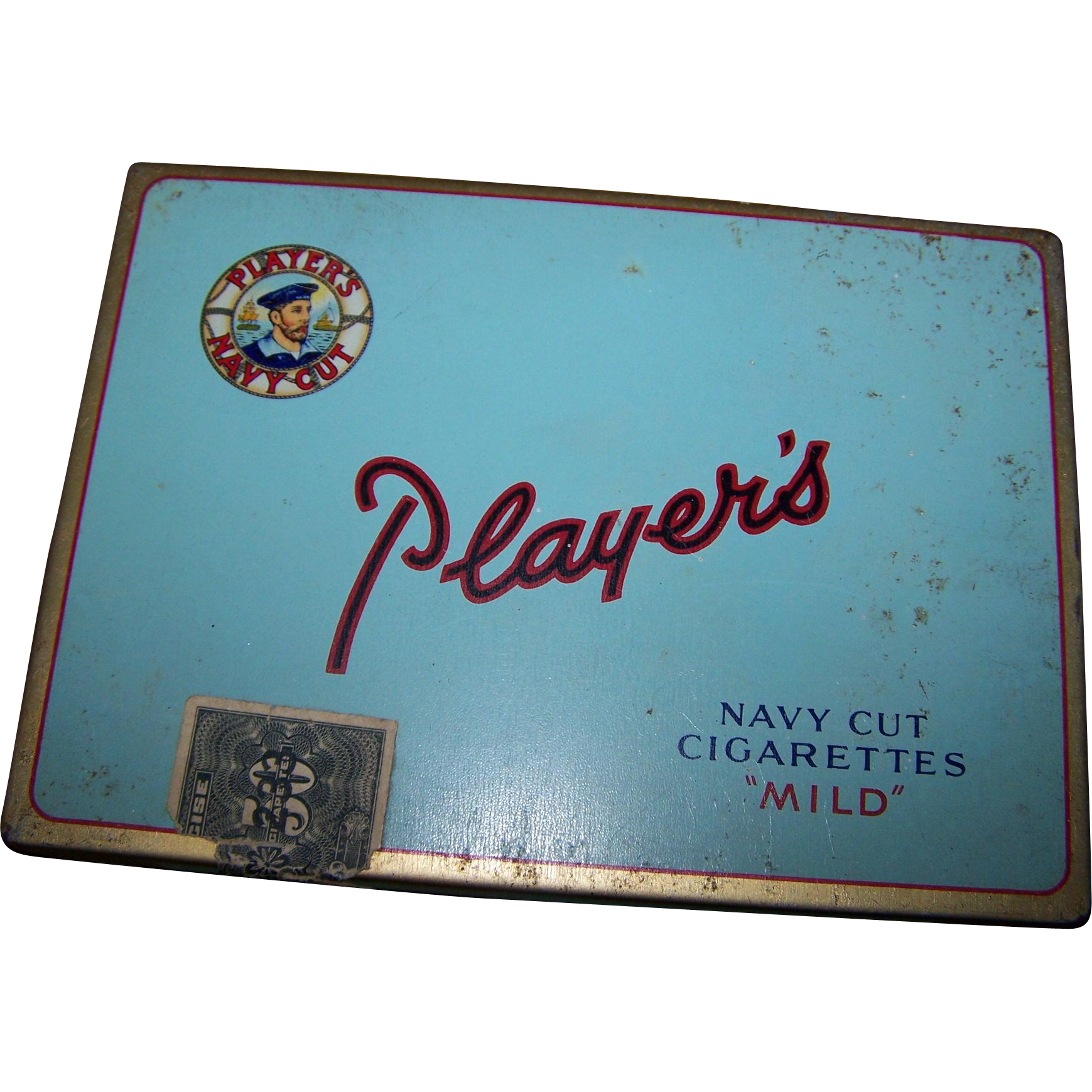 Vintage Tin Litho Tobacco Advetising Player's Navy Cut Cigarette Tin Box
