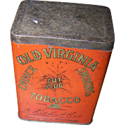Vintage Tin Litho Advertising Box OLD VIRGINIA Tobacco D. Ritchie Montreal