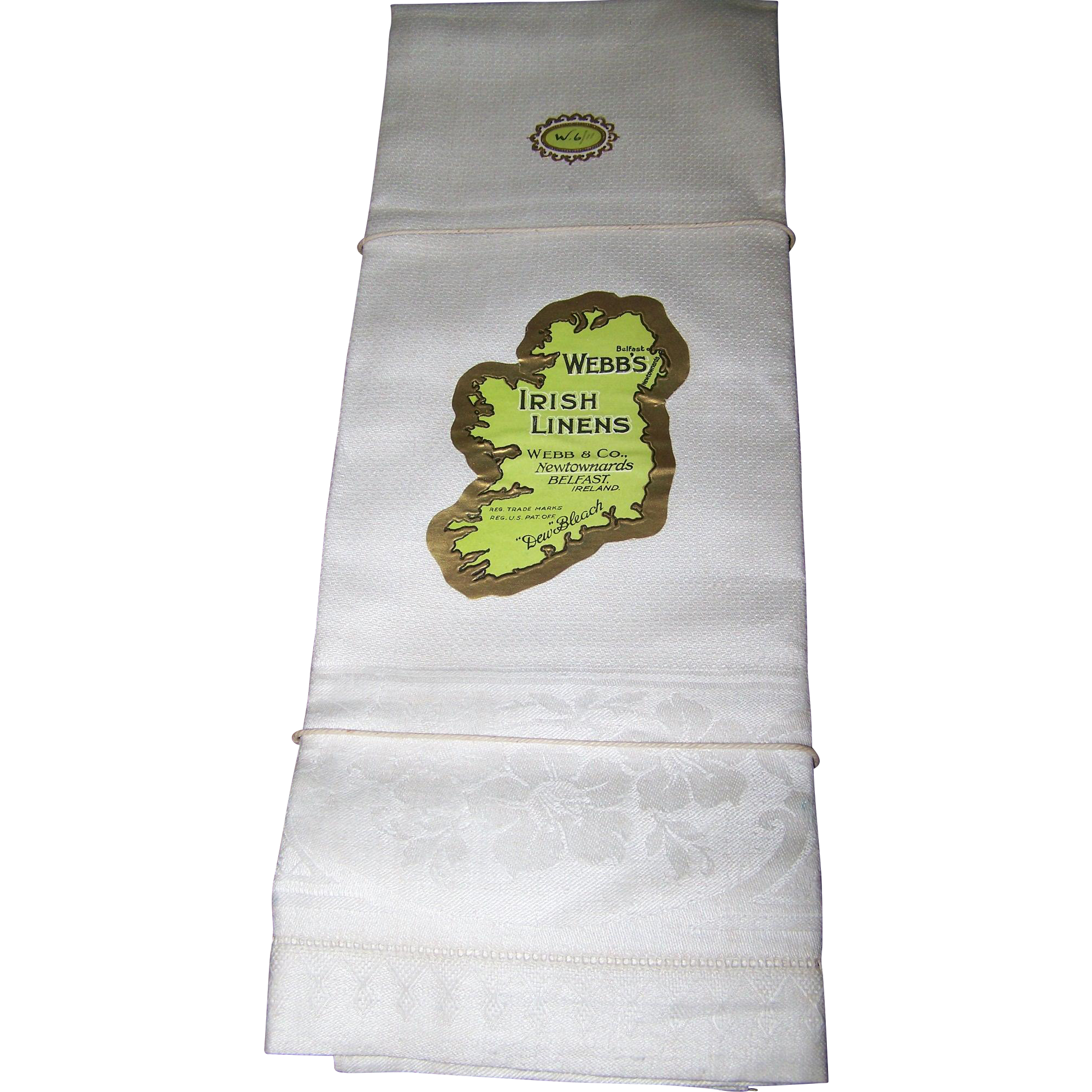 A Set of 4 Vintage Unused  Webb's Belfast  Irish Linens Guest Towels Dew  Bleach