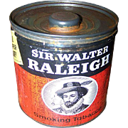 Vintage Collectible Advertising SIR WALTER RALEIGH Tobacco Tin Can