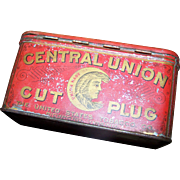 Vintage Advertising Tin Litho Box Central Union Cut Plug  Smoke & Chew Tobacco