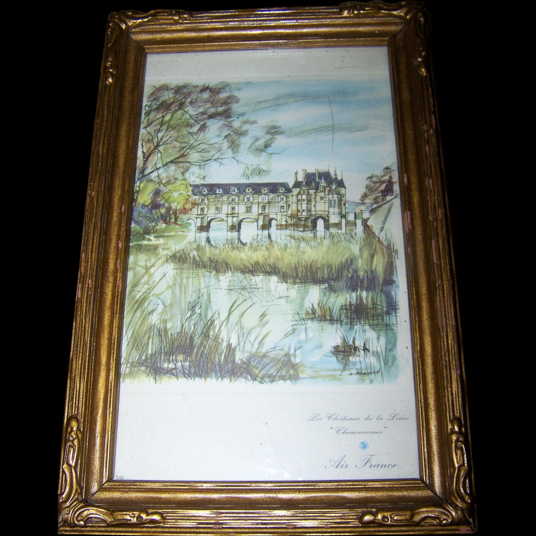 Vintage Framed Advertising Print Air France Les Chateau de la Loire Chenoceaux