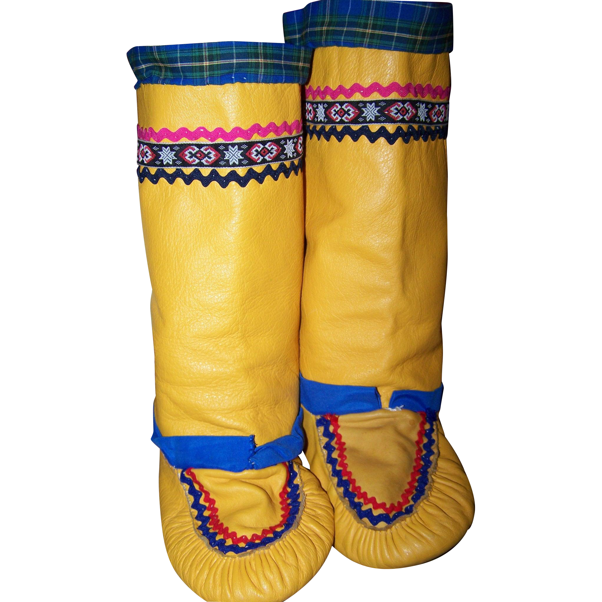 Authentic Native Canadian  Vintage Tall Mukluk  Boots Hand Made Leather Hide