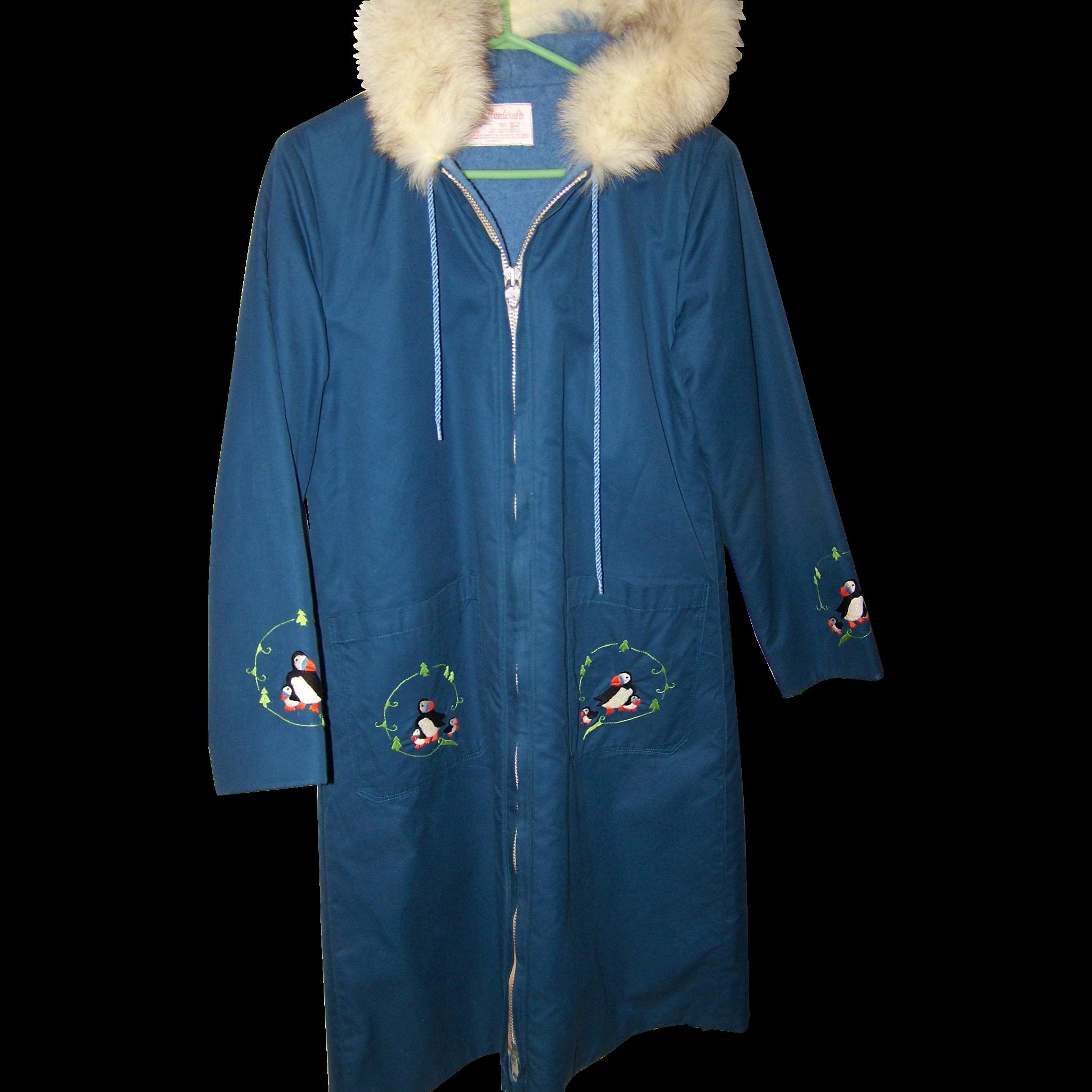 Long Coat Parka Grenfell Handicrafts Fox Fur Collar Canadian Made ...