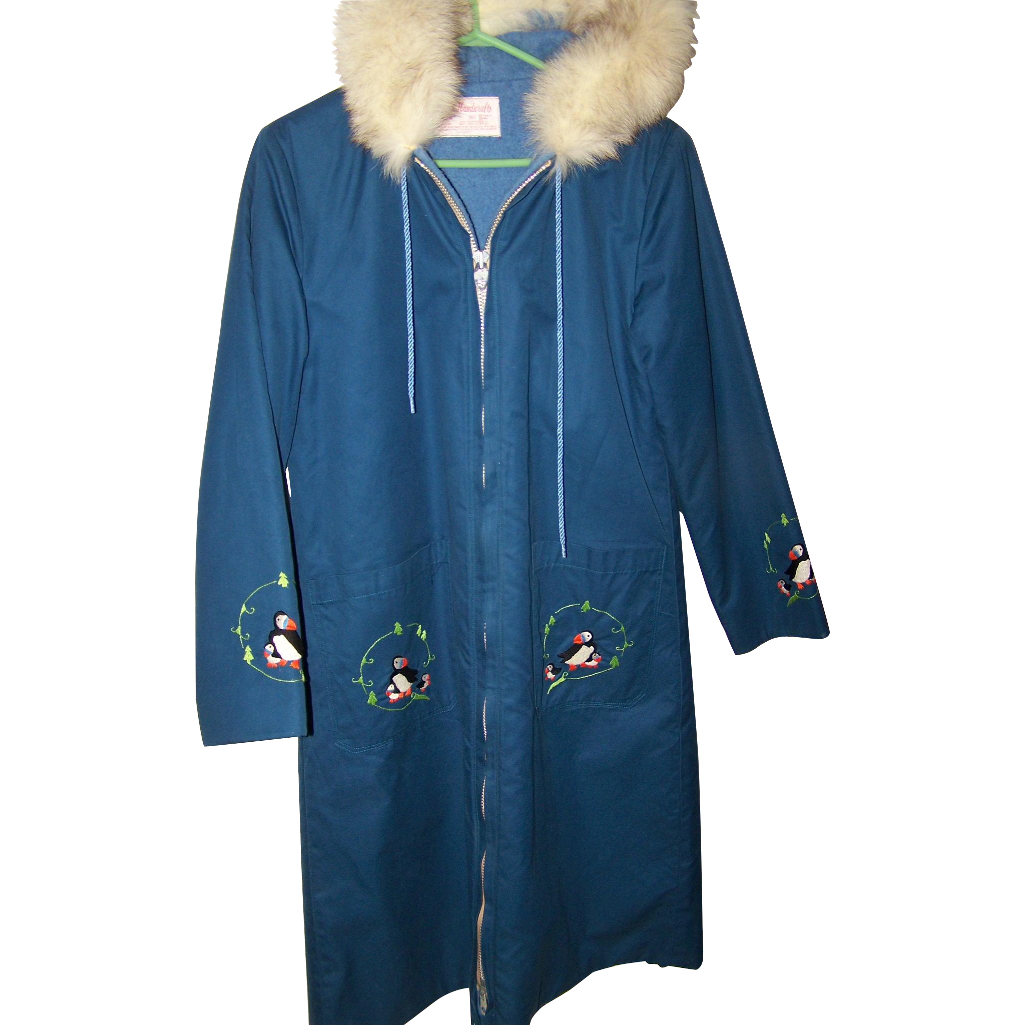 Long Coat Parka Grenfell Handicrafts Fox Fur Collar Canadian Made in Canada