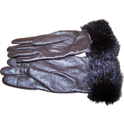 Beautiful Quality Ladies Vintage Hand Gloves Large Leather and Fur Trim