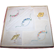 Floral Embroidere Handkerchief Set Petit Point OPAL Made in  Switzerland