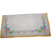 Vintage Linen Napkin Holder - Hand Embroidered with Applied Fruit Leaf Decoration -Embroidered Porte Serviette