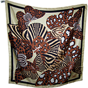 Such A Beautiful Designer Signed YSL for Yves Saint Laurent 100% Silk Butterfly Themed Scarf