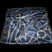 Lovely Large Belt Buckle Chain Tassel Themed Silk Scarf