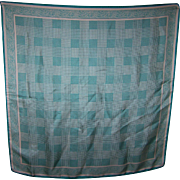A Vintage Silk Green and White Paisley OP Art  Fashion Scarf MI Italy