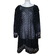 Striking Vintage Black Sequin Ladies Fashion Dress Size 18