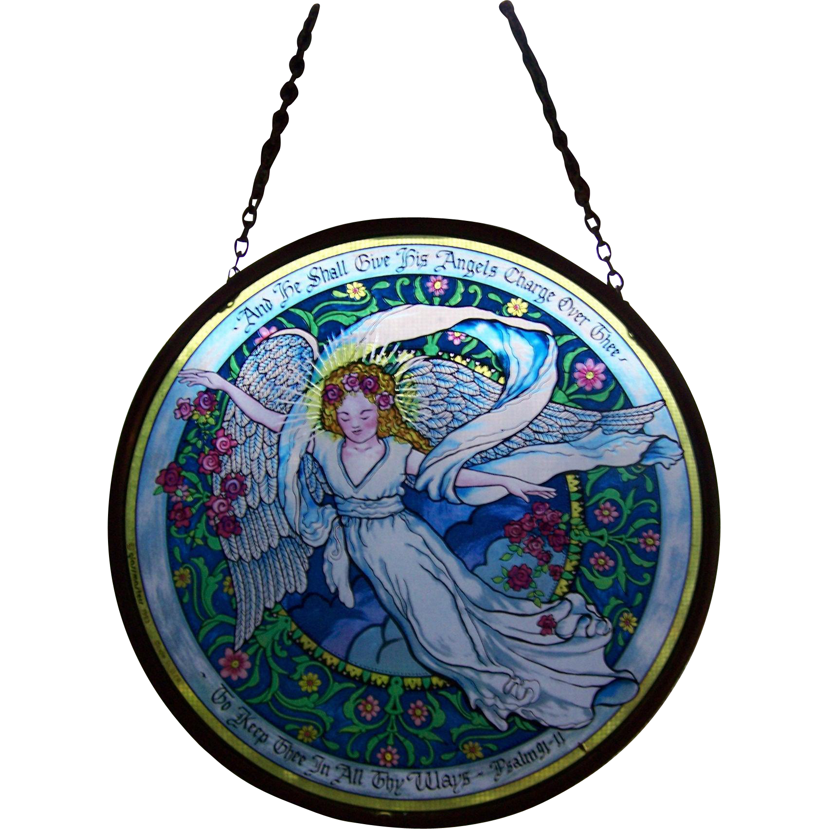 Glassmaster 1993 Faux Stained Glass Sun Catcher Psalm 91-11 Angels