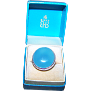 Blue Ladies Chalcedony 925 Sterling Silver Ring Size 6.75 in Birks Advertising Box