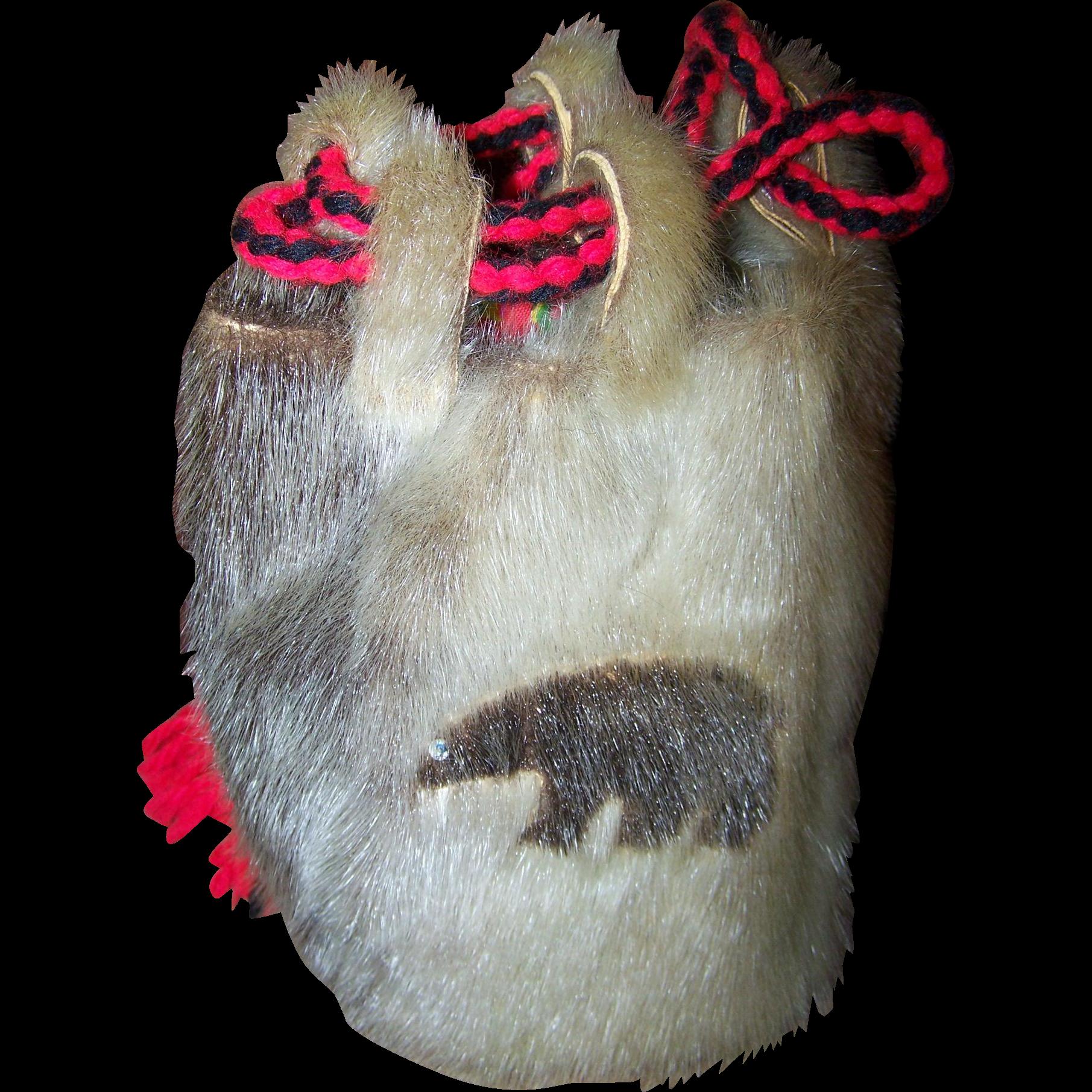 A Vintage Tourist Trade Native Aboriginal Inuit Fur Drawstring Bag Purse Pouch