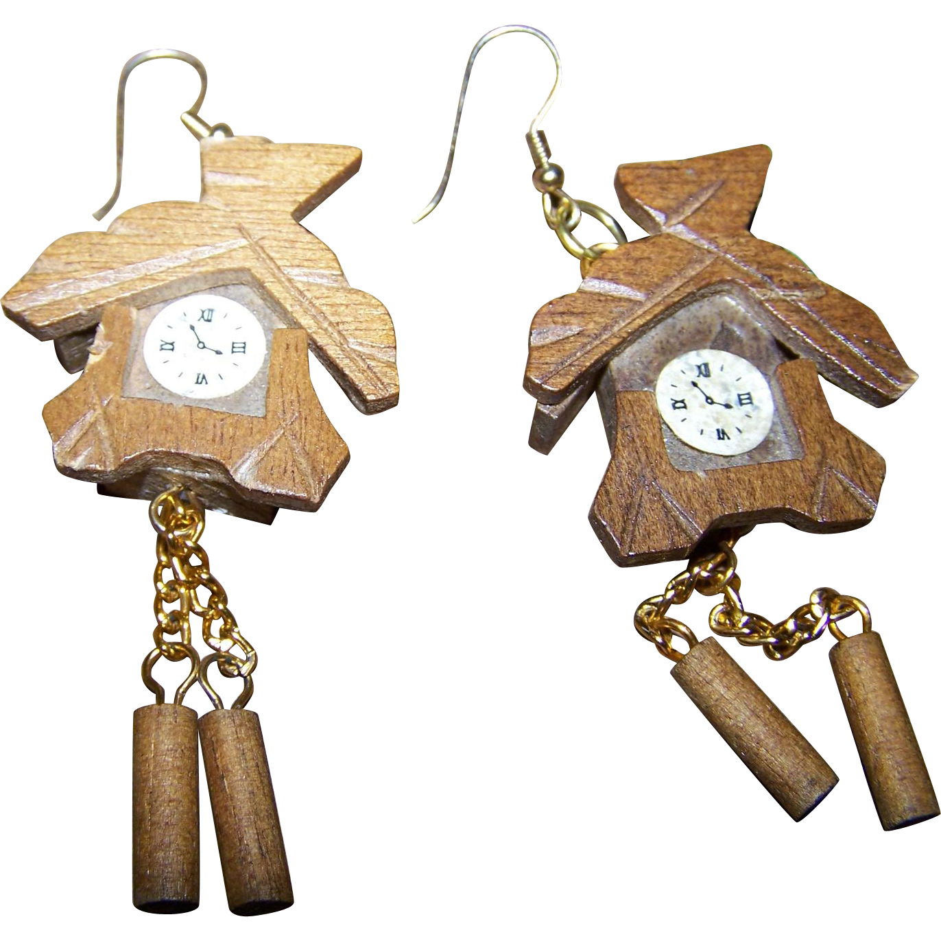 Charming Novelty  Wooden  Cuckoo Clock Earrings Pierced Style