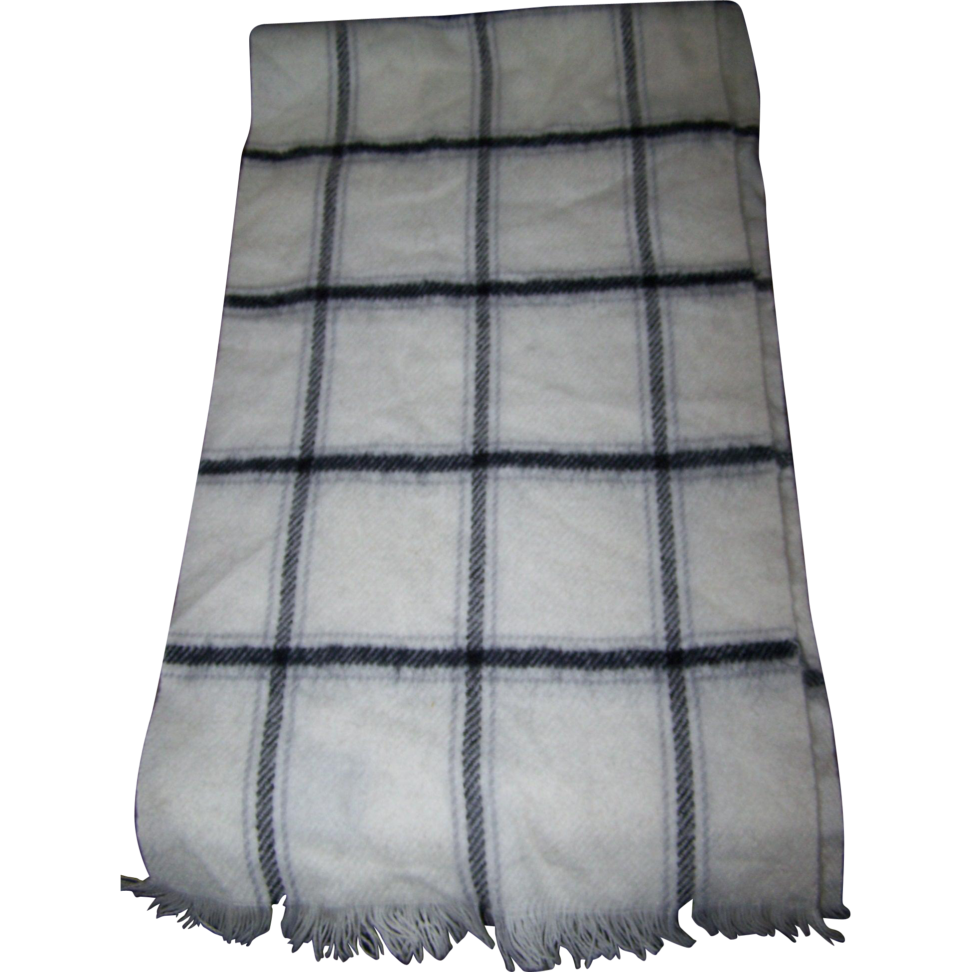 Vintage 100 % CASHMERE Plaid Pattern Scarf with Fringes Made in England