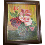 Oh SO Pretty Acrylic / Oil  on Canvas Rose Floral Still Life Painting Framed Home Decor Wall Art