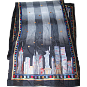 Wearable Art Travel Souvenir Scarf New York Skyline Starry Nite
