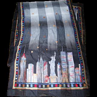Wearable Art Travel Souvenir Scarf New York Skyline Starry Nite